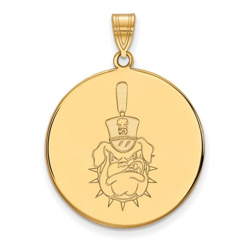 Citadel Bulldogs Sterling Silver Gold Plated Extra Large Disc Pendant