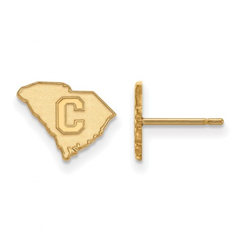 Citadel Bulldogs Sterling Silver Gold Plated Extra Small Post Earrings