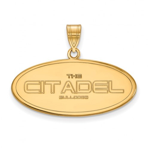 Citadel Bulldogs Sterling Silver Gold Plated Large Pendant