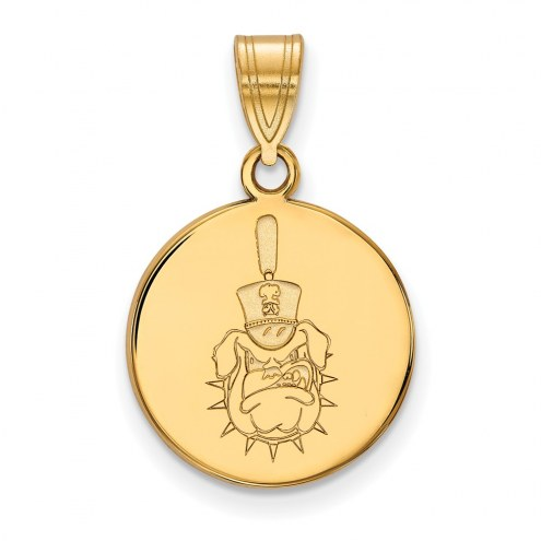 Citadel Bulldogs Sterling Silver Gold Plated Medium Disc Pendant