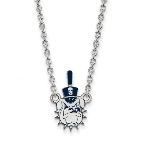 Citadel Bulldogs Sterling Silver Large Enameled Pendant Necklace