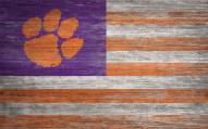 """Clemson Tigers 11"""" x 19"""" Distressed Flag Sign"""