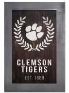 """Clemson Tigers 11"""" x 19"""" Laurel Wreath Framed Sign"""