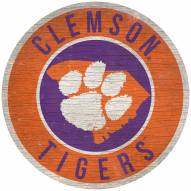 """Clemson Tigers 12"""" Circle with State Sign"""