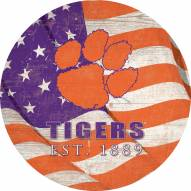 "Clemson Tigers 12"" Team Color Flag Circle Sign"