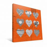 "Clemson Tigers 12"" x 12"" Hearts Canvas Print"