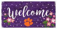 """Clemson Tigers 6"""" x 12"""" Floral Welcome Sign"""