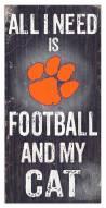 "Clemson Tigers 6"" x 12"" Football & My Cat Sign"