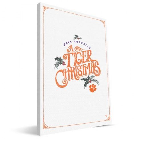 "Clemson Tigers 8"" x 12"" Merry Little Christmas Canvas Print"