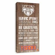 Clemson Tigers Family Rules Icon Wood Printed Canvas