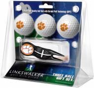 Clemson Tigers Black Crosshair Divot Tool & 3 Golf Ball Gift Pack