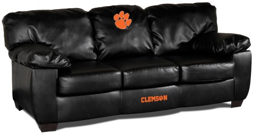 Clemson Tigers Black Leather Classic Sofa