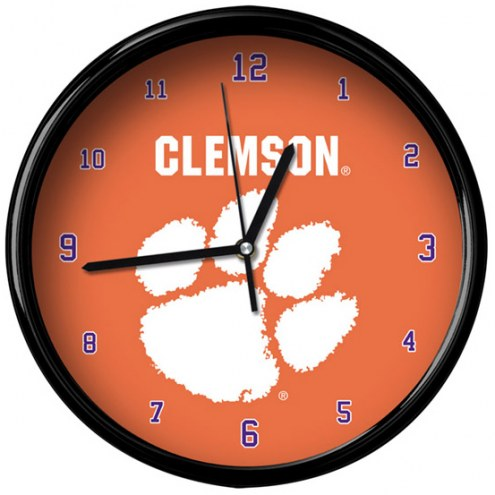Clemson Tigers Black Rim Clock