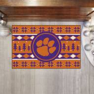 Clemson Tigers Christmas Sweater Starter Rug