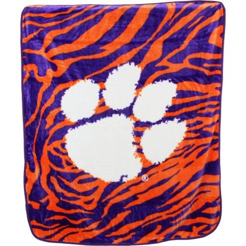 Clemson Tigers Raschel Throw Blanket
