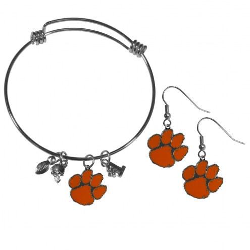Clemson Tigers Dangle Earrings & Charm Bangle Bracelet Set