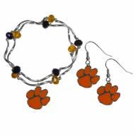 Clemson Tigers Dangle Earrings & Crystal Bead Bracelet Set