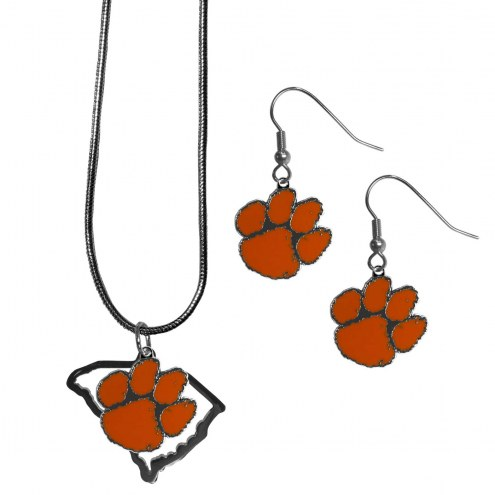 Clemson Tigers Dangle Earrings & State Necklace Set