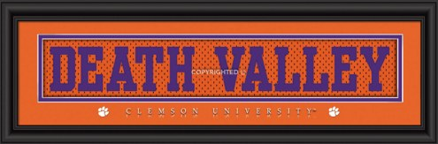 """Clemson Tigers """"Death Valley"""" Stitched Jersey Framed Print"""