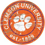 Clemson Tigers Distressed Round Sign