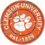 Clemson Tigers Distressed Round Sign