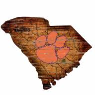Clemson Tigers Distressed State with Logo Sign