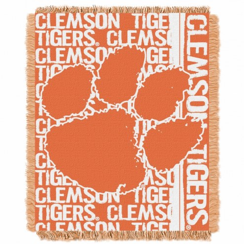 Clemson Tigers Double Play Woven Throw Blanket