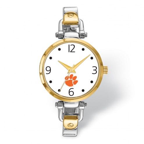 Clemson Tigers Elegant Ladies Two-Tone Watch