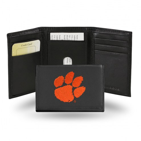 Clemson Tigers Embroidered Leather Tri-Fold Wallet