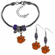 Clemson Tigers Euro Bead Earrings & Bracelet Set