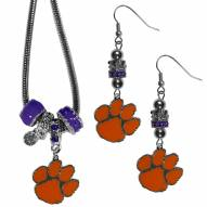 Clemson Tigers Euro Bead Earrings & Necklace Set