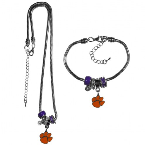 Clemson Tigers Euro Bead Necklace & Bracelet Set