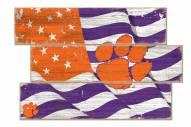 Clemson Tigers Flag 3 Plank Sign