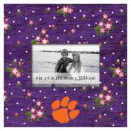 """Clemson Tigers Floral 10"""" x 10"""" Picture Frame"""