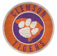 Clemson Tigers Round State Wood Sign