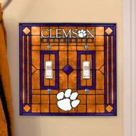 Clemson Tigers Glass Double Switch Plate Cover