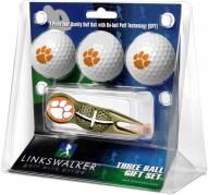 Clemson Tigers Gold Crosshair Divot Tool & 3 Golf Ball Gift Pack