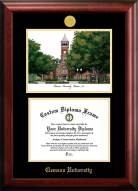 Clemson Tigers Gold Embossed Diploma Frame with Campus Images Lithograph