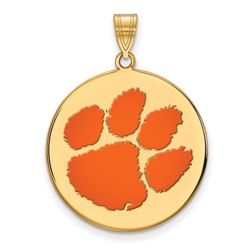 Clemson Tigers Sterling Silver Gold Plated Extra Large Enameled Disc Pendant