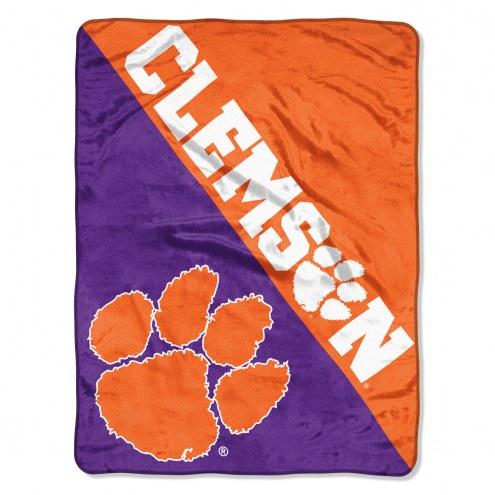 Clemson Tigers Halftone Raschel Blanket