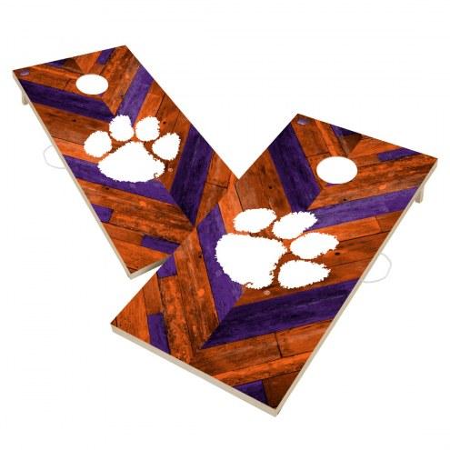 Clemson Tigers Herringbone Cornhole Game Set