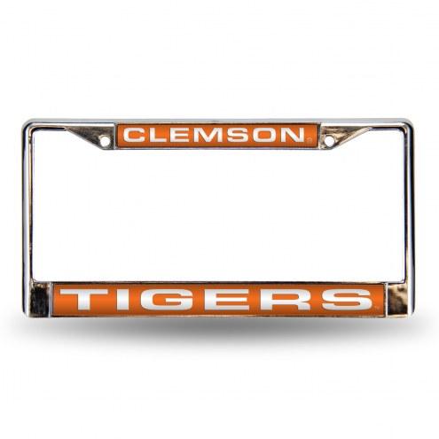 Clemson Tigers Laser Chrome License Plate Frame