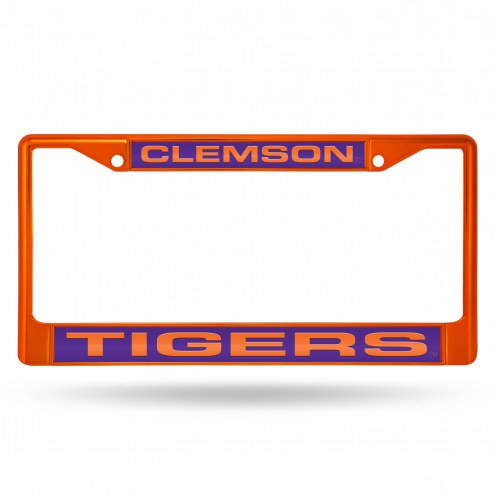 Clemson Tigers Laser Colored Chrome License Plate Frame
