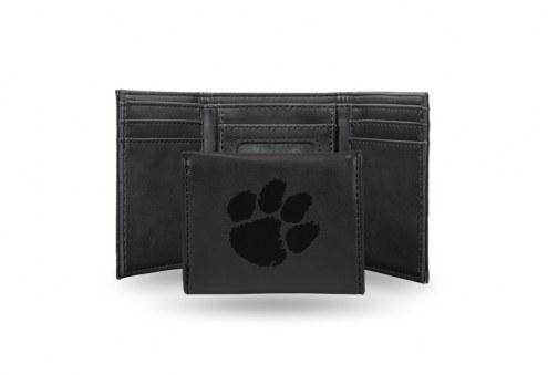 Clemson Tigers Laser Engraved Black Trifold Wallet