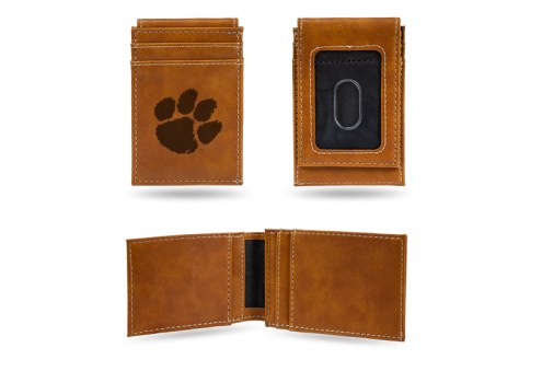 Clemson Tigers Laser Engraved Brown Front Pocket Wallet