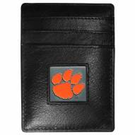 Clemson Tigers Leather Money Clip/Cardholder in Gift Box