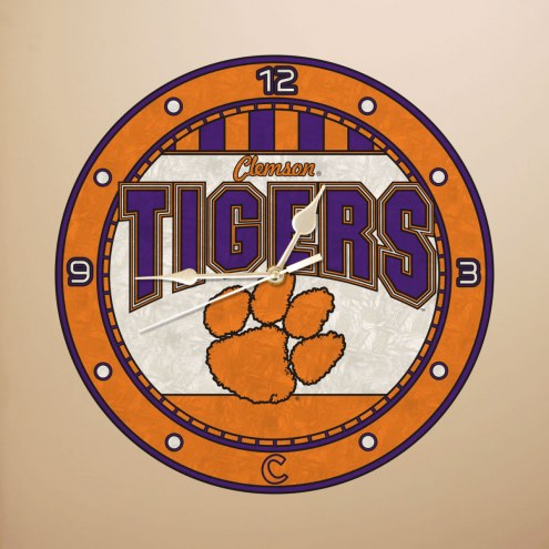 Clemson Tigers NCAA Stained Glass Wall Clock