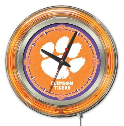 Clemson Tigers Neon Clock