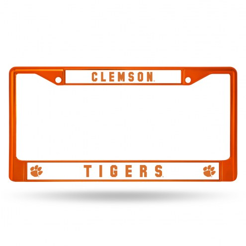 Clemson Tigers Orange Colored Chrome License Plate Frame