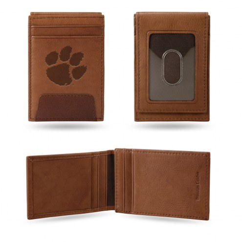Clemson Tigers Premium Leather Front Pocket Wallet